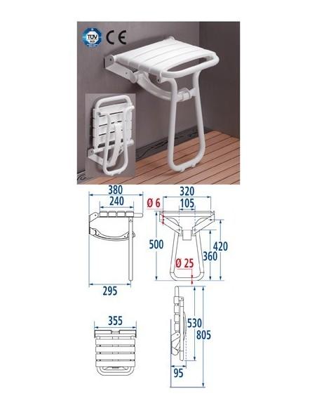 Siège de douche escamotable à béquille PELLET 047632