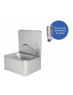 Lave-mains en inox avec robinet et distributeur de savon , Evier en inox