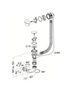 Vidage de baignoire à cable Lg 650mm NICOLL