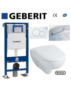 WC suspendu geberit plaque blanche + rimfree complet