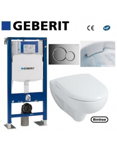 WC suspendu geberit plaque grise chromée + rimfree complet