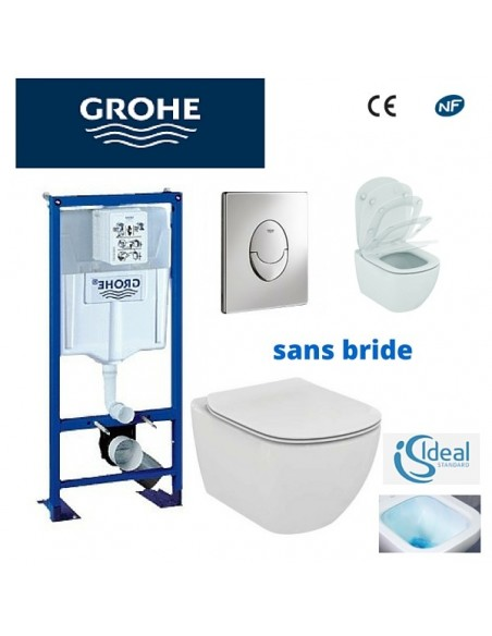 Pack WC grohe - cuvette sans bride ideal standard - plaque blanche 571f81fc18cc