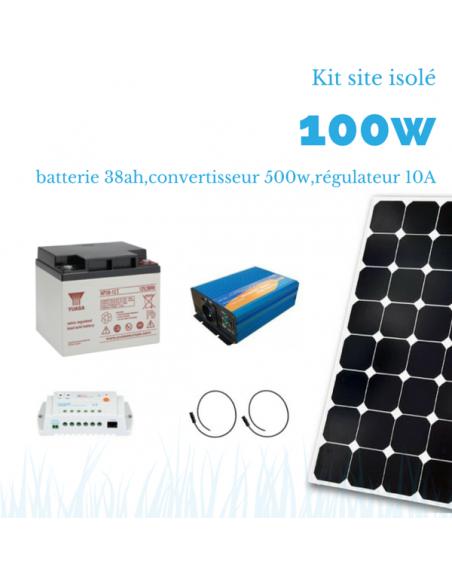 Kit solaire 100W , batterie 38 Ah, 500w