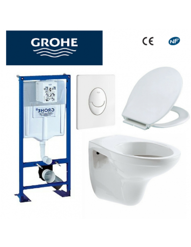 Bâti support WC bastia suspendu Grohe autoportant plaque blanche