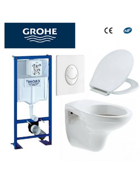 Bati support wc bastia suspendu grohe autoportant plaque blanche